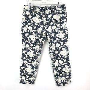 Tory Burch Alexa Jeans Blue White Cropped Skinny